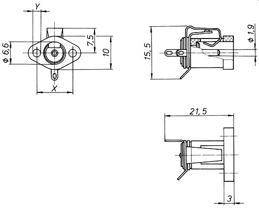 Schaltbuchse für Gehäuse-Montage 520 066, 520 117, 520 119
