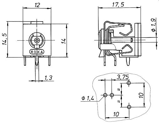 Schaltbuchse für Leiterplatten-Montage 520 2550